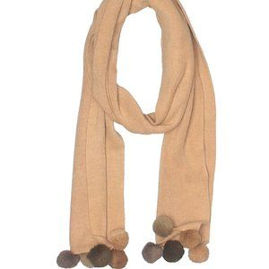 Cheveux tan scarf with pom poms